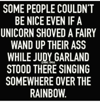 Memes, Singing, and Rainbow: SOME PEOPLE COULDN'T  BE NICE EVEN IF A  UNICORN SHOVED A FAIRY  WAND UP THEIR ASS  WHILE JUDY GARLAND  aRas  STOOD THERE SINGING  SOMEWHERE OVER THE  RAINBOW