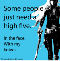 If you guys haven't already read it, I really recommend the Throne of Glass series :D AbnormalOwlᴬᴰᴹᴵᴺ: Some people  just need a  high five.  In the face.  With my  knives.  Throne of Glass- Pinterest If you guys haven't already read it, I really recommend the Throne of Glass series :D AbnormalOwlᴬᴰᴹᴵᴺ