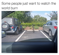 Cars, Car, and Wanted: Some people just want to watch the  world burn When you get all excited to find a parking spot and you see this. Car memes
