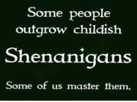 shenanigans: Some people  outgrow childish  Shenanigans  Some of us master them.