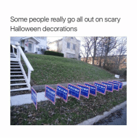 Halloween, Thirsty, and Trump: Some people really go all out on scary  Halloween decorations  TRUMP  MP I'm thirsty