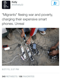 "Family, Fucking, and Phone: SOME  PEOPLE  UST  NEEDA  HIGH-FIVE.  Kelly  @OkKelly22  ""Migrants"" fleeing war and poverty  charging their expensive smart  phones. Unreal  8/27/15, 3:37 PM  340 RETWEETS 156 FAVORITES shes-a-killerqueen: bigcutiekelly:  titankoretech:  roseworter:  This is so infuriating? Like do you really think war and smart phones cant exist in the same country at the same time without cancellation? Those phones (not even ""expensive smartphones"") are probably all the connection they have with family. And that a phone = rich, and that their having a phone erases their status as refugees?  I got a smartphone brand new for $20, it's not great and pretty far behind compared to the new phones but it was cheap.My friend in Columbia was able to buy a similar one for about $12.And also there is the fact that you can actually be middle class or even rich and end up as a refugee!Let's say your town floods and you can only grab what you can fit in a single backpack of course you are going to take your damn phone! ESPECIALLY when your entire family is split up cause the evacuation happened out of nowhere and you want to be able to find them again.  Racist white people seem to think cell phones cost $5 million dollars and nobody but tech billionaires and other whites should own them.   Literally everyone knows to have a fully charged phone in an emergency situation, but once non westerners try to have a fully charged phone in a situation, it's some sort of fucking luxury that should be condemned. Didn't realize that disaster and upheaval came with a mandatory downgrade for your cell phone.   I've been to literal ""third world"" countries where they had smartphones everywhere"