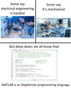 "Engineering, Programming, and Matlab: Some say  electrical engineering  is hardest  Some say  t's mechanical  But deep down we all know that  %OFD TS OrDM mo du 1mte  frequency-danai"" Input over to.r.  12-  19  26-  27  ofdim,t  Les  Cell  MATLAB is an illegitimate programming language MATLAB =/= programming"