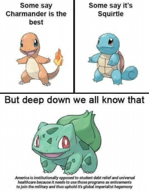 America, Charmander, and Best: Some say  Some say it's  Squirtle  Charmander is the  best  But deep down we all know that  America is institutionally opposed to student debt relief and universal  healthcare because it needs to use those programs as enticements  to join the military and thus uphold it's global imperialist hegemony Me_irl : me_irl