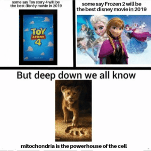 Disney, Frozen, and Toy Story: some say Toy story 4 will be  the best disney movie in 2019  some say Frozen 2 will be  the best disney movie in 2019  TOY  4  STORY  But deep down we all know  mitochondria is the powerhouse of the cell The powerhouse of cell it is