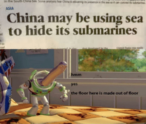 China is so smart: Someaals fer Chinsingsne nthe saos  the South  ASIA  China may be using sea  to hide its submarines  hmm  yes  the floor here is made out of floor China is so smart