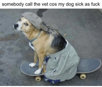 Sick Meme: somebody call the vet cos my dog sick as fuck