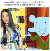 Cardi B: somebody said cardi b looks like  Winslow from catdog and I just.. .