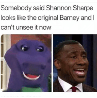 Barney, Shannon Sharpe, and Hood: Somebody said Shannon Sharpe  looks like the original Barney and l  can't unsee it novw Can't unsee it😂