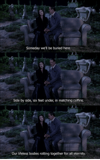Bodies , Family, and Eternity: Someday we'll be buried here.  Side by side, six feet under, in matching coffins.  Our lifeless bodies rotting together for all eternity. The Addams Family