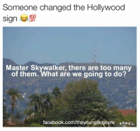 what are we going to do: Someone changed the Hollywood  Sign  Master Skywalker, there are too many  of them. What are we going to do?  facebook.com/theyounglingcore suRE co