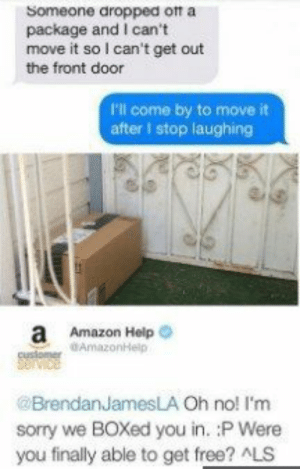 Amazon, Funny, and Sorry: Someone dropped ott a  package and I can't  move it so I can't get out  the front door  P'l come by to move it  after I stop laughing  a Amazon Help  customer AmazonHelp  @BrendanJamesLA Oh no! I'm  sorry we BOXed you in. :P Were  you finally able to get free? ALS 110 funny pictures for today (# 60) #memesenespa #memesforlife #memesrlife #memestagram