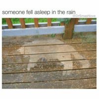 Irish, Memes, and Smashing: someone fell asleep in the rain  @DrSmashlove When u go out drinking with a cute Irish girl and she get u doing Jameson shots and u think u can hang but then u realize by shot number five that u ain't bout dat lyfe but then u keep going because yo mama ain raise no hoe and u can't let a 108 pound Irish girl out-drink u but then u realize that she got Irish in her DNA and could body a whole bottle of Jameson which would land u in the actual ICU but she do that for breakfast on a Saturday morning at a Notre Dame tailgate so now u eight shots in and u talking jibberish and she let u smash in the back of the bar and u get home and fall schleep on the porch with your dick stuck to your thigh and then u get rained on BasedOnATrueStory OrNah ImmaLetYallDecide 😂😂😂