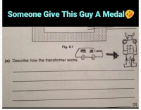transformer: Someone Give This Guy A Medal  Fig. 5.1  (a) Describe how the transformer works.  13]