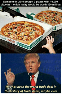 Memes, The Worst, and History: Someone in 2010 bought 2 pizzas with 10,000  bitcoins which today would be worth $20 million.  Thisthas been the worst trade deal in  the history of trade deals, maybe ever