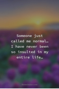 Funny, Quotes, and Never: Someone just  called me normal...  I have never been  so insulted in my  entire Lite...  BoomSumo.com 50 Funny Inspirational Quotes That Will Inspire You Extremely 14