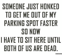 Honk again bitch...: SOMEONE JUST HONK ED  TO GET ME DUTOF MY  PARKING SPOT FASTER  SO NOW  I HAVE TO SIT HERE UNTIL  BOTH OF US ARE DEAD Honk again bitch...