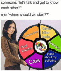 "meirl: someone: ""let's talk and get to know  each other!!""  me: ""where should we start??""  Serla  ker  Past  trauma  a wheel  jokes  about my  Cats suffering meirl"