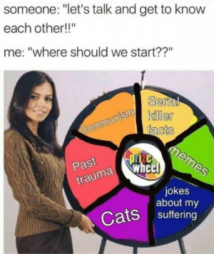 "Other Me: someone: ""let's talk and get to know  each other!!""  me: ""where should we start??""  Serial  killer  facts  memes  Communism  pze  wheel  Past  trauma  jokes  about my  Cats suffering"