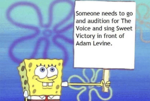 Dank, Memes, and Target: Someone needs to go  and audition for The  Voice and sing Sweet  Victory in front of  Adam Levine. Posting this until it happens by mc395686 MORE MEMES
