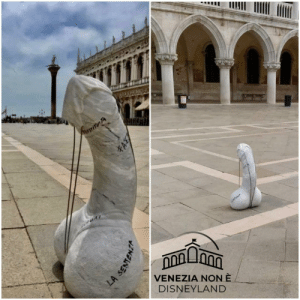 Someone put a penis made out of cement overnight in the middle of St. Mark's Square in Venice. Police officers couldn't remove it by themselves because of its wheight. (credit @venezia_non_e_disneyland on ig): Someone put a penis made out of cement overnight in the middle of St. Mark's Square in Venice. Police officers couldn't remove it by themselves because of its wheight. (credit @venezia_non_e_disneyland on ig)