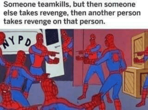 Revenge, Another, and Friend: Someone teamkills, but then someone  else takes revenge, then another person  takes revenge on that person.  NPD When multiple friend groups are on the same team