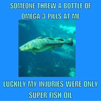 Fish story.: SOMEONE THREW A BOTTLE OF  OMEGA 3 PILLS AT ME  LUCKILY MY INJURIES WERE ONLY  SUPER FISH OIL Fish story.