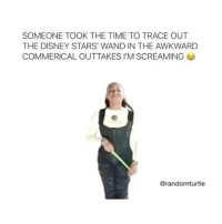 Memes, 🤖, and The Disney: SOMEONE TOOK THE TIME TO TRACE OUT  THE DISNEY STARS' WAND IN THE AWKWARD  COMMERICAL OUTTAKES l'M SCREAMING  @randomturtle this is hilarious 😂 disneychannel