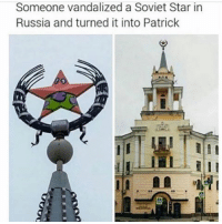 Ironic, Pink, and Russia: Someone vandalized a Soviet Star in  Russia and turned it into Patrick okay so which ukulele should i get a pink one or a spongebob square pants one ??? i need help