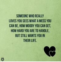 Life, How, and Who: SOMEONE WHO REALL  LOVES YOU SEES WHAT A MESS YOU  CAN BE, HOW MOODY YOU CAN GET,  HOW HARD YOU ARE TO HANDLE,  BUT STILL WANTS YOU IN  THEIR LIFE.