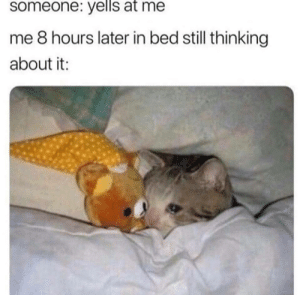 Dank, Memes, and Target: someone:  yells  at  me  me 8 hours later in bed still thinking  about it Meirl by Geraldbbb MORE MEMES
