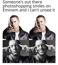 Eminem, Facebook, and Mike Brown: Someone's out there  photoshopping smiles on  Eminem and I can't unsee it thinking about mom's spaghetti - photoshop credit: (Facebook: Mike Brown id=574826203)