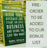 Pre-order my new Rich20Something book - on sale now (link in bio)! Screenshot and DM the receipt to me with your email, and I'll add you to my bonus list! We're giving out free stuff to lucky winners! ✌👊: SOMETHING DANIELDIPIALLA el  PRE-  RICH20 SOMETHING  ORDER  UNCORRECTED PROOF FOR LIMITED DISTRIBUTION  DITCH YOUR  TO BE  AVERAGE JOB  START AN EPIC  ADDED  BUSINESS  AND SCORE THE  TO OUR  LIFE YOU WANT  BONUS  DANIEL DI PIAZZA  OF RICH2OSOMETHING FOUNDER LIST Pre-order my new Rich20Something book - on sale now (link in bio)! Screenshot and DM the receipt to me with your email, and I'll add you to my bonus list! We're giving out free stuff to lucky winners! ✌👊