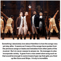 never ceases to amaze me: Something l absolutely love about Hamilton is how the songs vary  yet stay alike. It seems as if many of the songs have quotes from  the previous songs or beats and melodies from other parts of the  musical. But Lin never ceases to amaze me. He manages to also  incorporate variety. It goes from anice sweet slow song such as  that would be enough to some insane hype rapthat gets you fired  up like Guns and Ships. It truly is incredible.