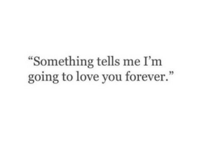 """Love, Forever, and You: Something tells me I'm  going to love you forever.""""  93"""