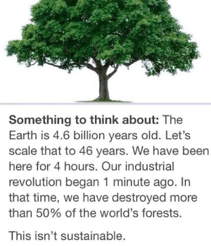 Club, Tumblr, and Blog: Something to think about: The  Earth is 4.6 billion years old. Let's  scale that to 46 years. We have been  here for 4 hours. Our industrial  revolution began 1 minute ago. In  that time, we have destroyed more  than 50% of the world's forests.  This isn't sustainable. laughoutloud-club:  Something Important We Should Think About