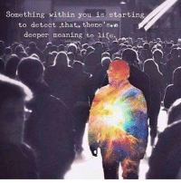 Life, Memes, and Meaning: Something within you is starting  to detect that. there's e  deeper meaning to life. When small talk is no longer enough 🤔