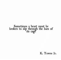 cag: Sometimes a heart must be  broken to slip through the bars of  its cag  K. Towne Jr.