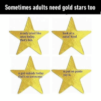 Things I pride myself on throughout summer.: Sometimes adults need gold stars too  look at u  eatin food  u only cried like  once today  hat's fab.  u got outside today  that's so awesome  u put on pants  yayu Things I pride myself on throughout summer.