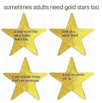 @OMGthisisSOus: sometimes adults need gold stars too  look at u  u only cried like  once today.  eatin food  that's fab.  u put on pants  u got outside today  yay u  that's so awesome @OMGthisisSOus