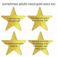 Gold Star: sometimes adults need gold stars too  remembered to pack a  u got some sun  lamp for your walk  today good job  you only got caught  ou cleaned your barrel  masturbating in the  marketplace once  awesome  today yay u