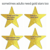 Dank, Food, and Stars: sometimes adults need gold stars too  u only cried like  once today.  that's fab.  look at u  eatin food  u got outside today  that's so awesome  u put on pants  yay u 💯😂