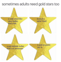 Gold Star: sometimes adults need gold stars too  u only cried like  look at u  once today.  eatin' food  that's fab  u put on pants  u got outside today  yay u.  that's so awesome