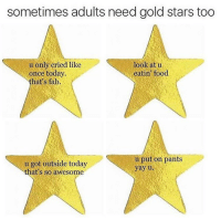 Tis True @haaaofficial: sometimes adults need gold stars too  u only cried like  look at u  once today.  eatin food  that's fab.  u put on pants  u got outside today  that's so awesome Tis True @haaaofficial
