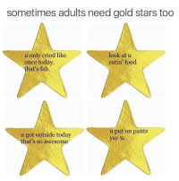 Yay u!: sometimes adults need gold stars too  u only cried like  look at u  eatin' food  once today  that's fab.  u put on pants  u got outside today  yay u  that's so awesome Yay u!