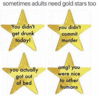 Gold Star: sometimes adults need gold stars too  You didn't  you didn't  get drunk  commit  today!  murder  you actually  omg! you  Were nice  got out  to other  of bed  humans