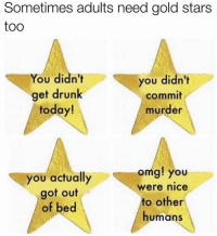 Gold Star: Sometimes adults need gold stars  too  You didn't  you didn't  get drunk  commit  today!  murder  omg! you  you actually  Were nice  got out  to other  of bed  humans