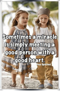 Memes, Free, and Good: Sometimes amiracle  s simply meeting a  goodperson witha  good heart  Free Spirited