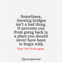 Memes, 🤖, and Journal: Sometimes,  burning bridges  isn't a bad thing.  It prevents you  from going back to  a place you should  never have been  to begin with.  Type 'Yes' if you agree.  Quotes Journal <3