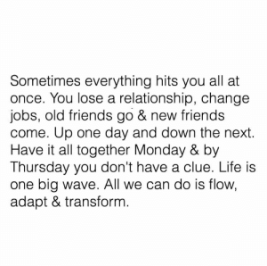 Adapt: Sometimes everything hits you all at  once. You lose a relationship, change  jobs, old friends go & new friends  come. Up one day and down the next.  Have it all together Monday & by  Thursday you don't have a clue. Life is  one big wave. All we can do is flow,  adapt & transform